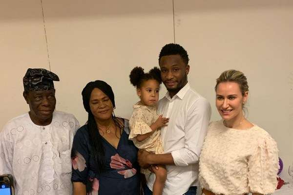 Mikel Obi, Wife And His Daughters Visit Grandpa And Grandma In Nigeria