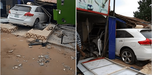 Lady Rejoices After Speeding N7m Car Rammed Into Her Shop In Asaba.