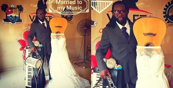 Nigerian Man Legally Marries His Guitar Yesterday In Lagos