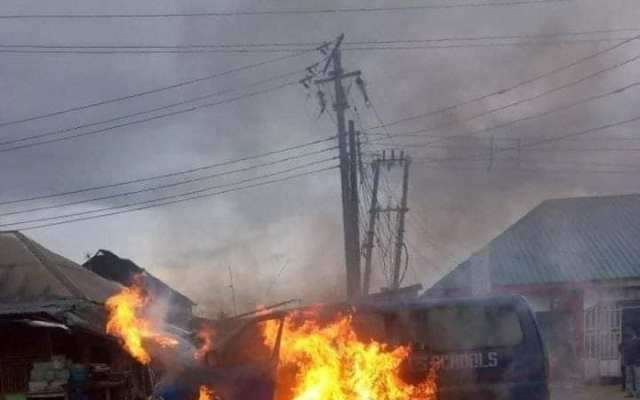 School Bus Conveying Pupils Went Up In Flames Today, In Port-harcourt