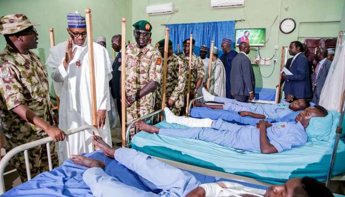 President Buhari Visits Wounded Soldiers In Maiduguri; Orders Military To End Boko Haram Threat