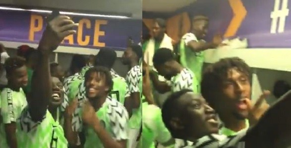 Iwobi, Musa, Ogu, Ihenacho And Other Super Eagles' Stars Celebrate In The Dressing Room As Nigeria Qualify For 2019 AFCON (Videos)