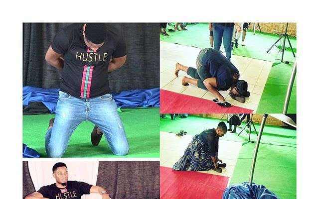 SA Based Nigerian Pastor Makes Members Lick His Shoes To Receive Miracle Money