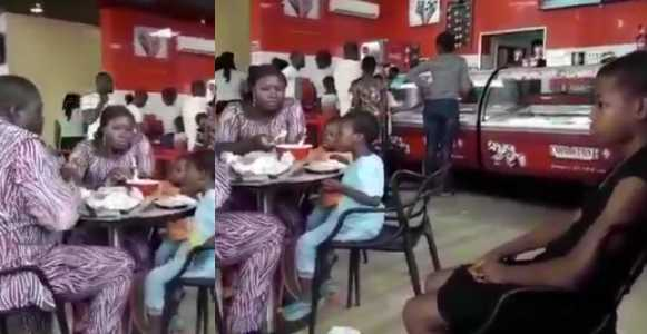 Couple Ignore Their Maid At A Restaurant While Enjoying Ice Cream And Pizza With Their Kids (Video)