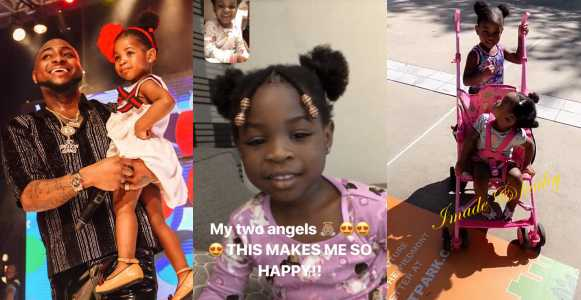 """My Two Angels Make Me So Happy"" – Davido Shows Off His Cute Kids As They Facetime Each Other"