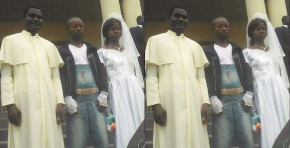 Man Wears Jeans Pinafore To Wed His Bride On Wedding Day (Photo)