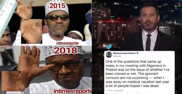 US TV Show Host, Jimmy Kemmel Jokes About President Buhari's Response To His Cloning Allegation (video)