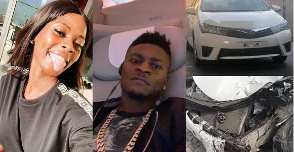 Khloe Involved In An Accident In The Brand New Car Obafemi Martins Recently Gave Her (photos)