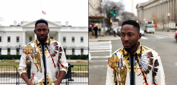 Bbnaija's  Winner Miracle Spotted In Front Of The White House In US