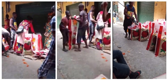 Man Exposes How Traders Reduce The Content Of Bags Of Rice Before Selling Them (Videos)