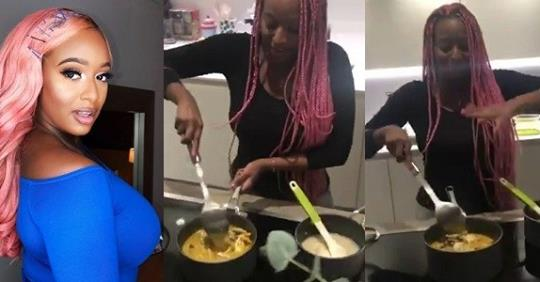 DJ Cuppy Cooks Correct Seafood Soup' And Eba, Nigerians Reacts.