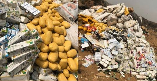 Lagos Police Burns A Huge Pile Of Indian Hemp, Tramadol, Cocaine, Synthetic Marijuana, Diazepam And Others