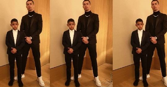 GOALS! – Cristiano Ronaldo And His Son Strike A Pose In Matching Suits (Photo)