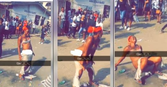 Lady Strips In The Middle Of A Road In Mushin, Lagos (photos)