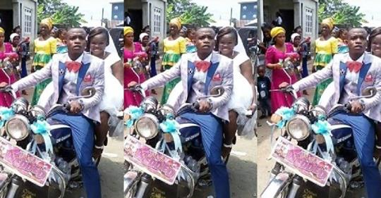 True Love : Bride Rides With Her Groom On A Customized Motorcycle On Their Wedding Day.