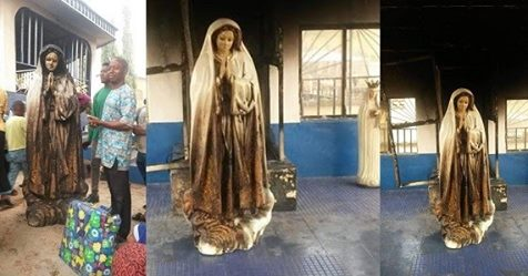 Woman Sets Statue Of Virgin Mary Ablaze At A Catholic Church In Enugu State