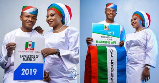 Beautiful APC Themed Pre-wedding Photoshoot Of A Nigerian Couple (Photos)