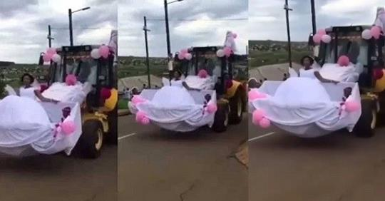 Newly Wed Couple Use Construction Vehicle As Their Wedding Car (Video)