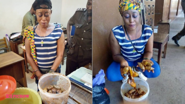 Lady Smuggling Tramadol And Weed In Stew For Her Jailed Boyfriend Arrested In Ghana