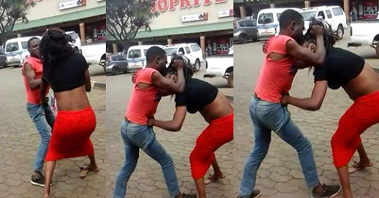 A Man And A Lady Spotted Fighting Outside Shoprite Mall