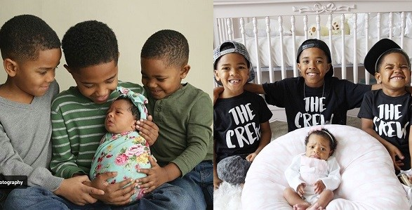 Photos Of Three Young Brothers With Their Only Newborn Sister Is The Cutest Thing You'll See Today!