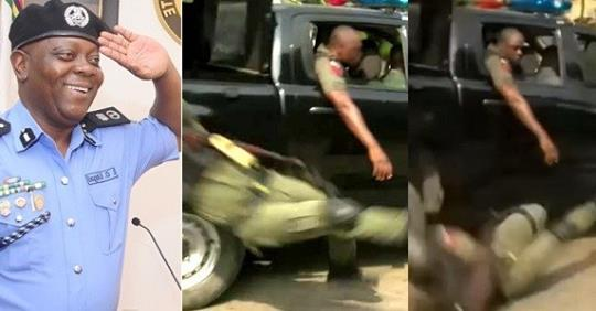 Moment Officer Falls From Moving Van And Gets Injured While Celebrating The Reversal Of Lagos Police Commissioner, Edgal Imohimi's Redeployment (Video)