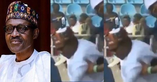 Moment President Buhari Slipped And Almost Fell At APC Presidential Rally In Kogi (Video)