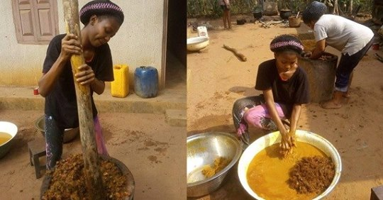 ASUU Strike: Student Delves Into Palm Oil-making Business In The Village (Photos)