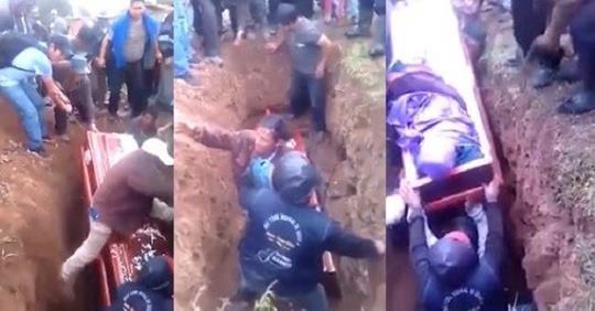 Corpse Falls Out Of Coffin During Burial After Pallbearer Tumbled And Fell On It (Video)