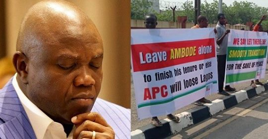 Governor Ambode's Supporters Stage Protest At Lagos Assembly Over Planned Impeachment (Video)