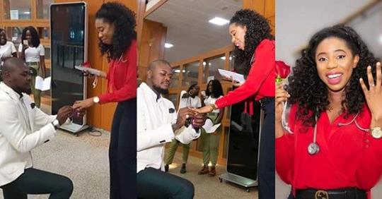 Romantic Nigerian Guy Proposes To His Doctor Girlfriend In National Assembly Clinic (Photos + Video)