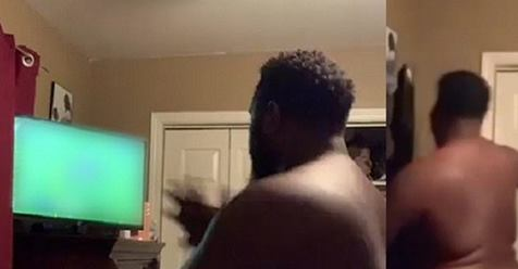 Angry Man Destroys TV With Punches After His Club Failed To Win Match (Video)