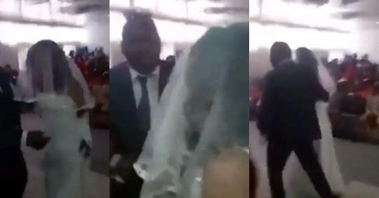 Drama As Sidechic Shows Up At Lover's Wedding In Her Own Wedding Dress (Video)
