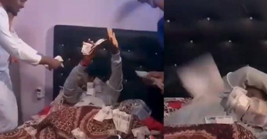 Igbo Guys Use Cash To Wake Up Their Friend As They Surprise Him On His Birthday (Video)