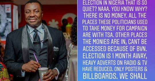 """2019 Election Campaigns Is So Quiet Because Places Politicians Take Money From Have Been Blocked""- Alibaba"