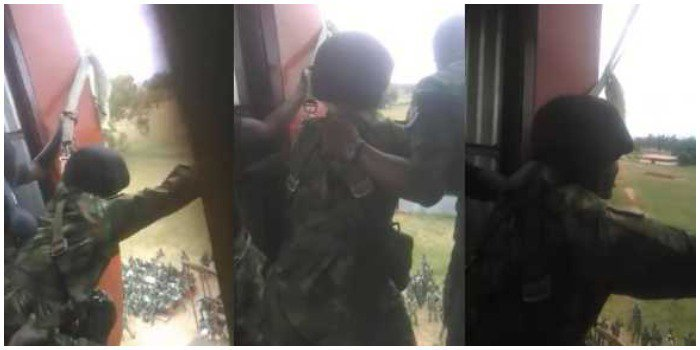 Drama As Scared Nigerian Army Cadet Refuses To Jump During Military Training (Video)