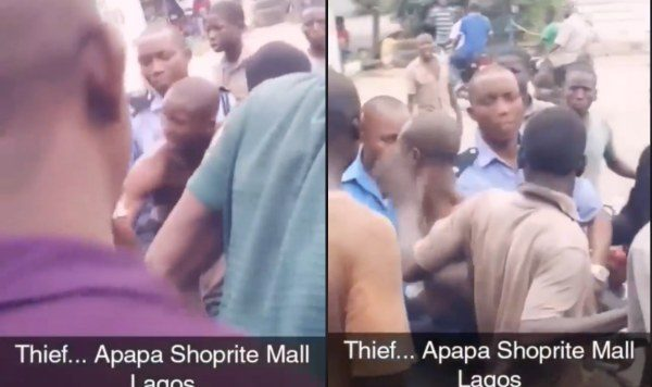 Thief Caught At Shoprite In Lagos, Rescued From Being Lynched By Mob (video)