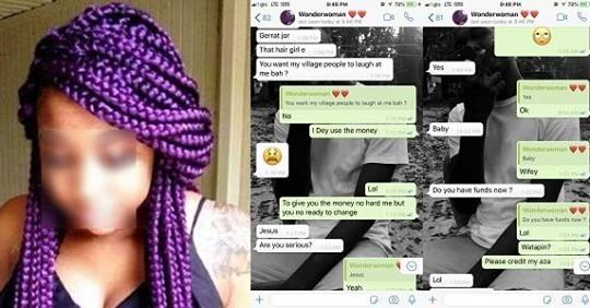 Awwwn! Conversation Between A Guy And His Girlfriend After He Told Her He Doesn't Have Money For Her Hair