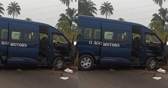 Gunmen Attack 14-seater Commercial Bus In Rivers State, Kill Driver, 2 Passengers, Kidnap Others (Photo)