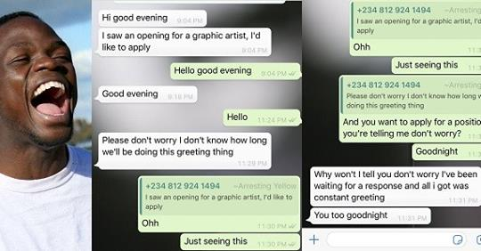 Hilarious Conversation Between An Employer And An Impatient Applicant