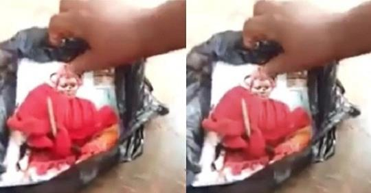 Nigerian Lady Raises Alarm After Finding Her Picture Pinned With Nails And Juju In Mother-in-law Cupboard (Video)