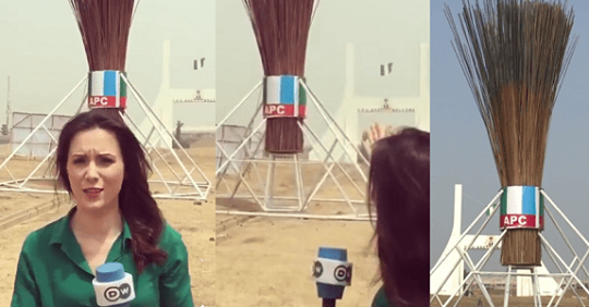 Foreign Reporter Mocks APC Over Construction Of Giant Broom In Abuja.