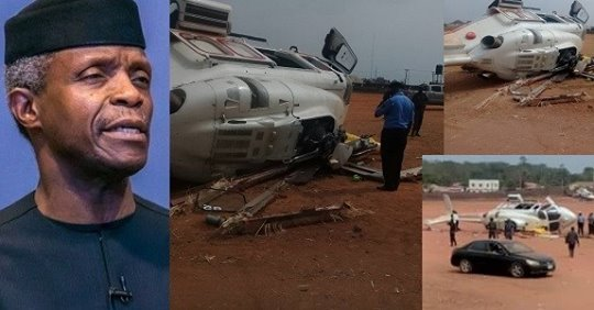 BREAKING: Helicopter Carrying Osinbajo Crash Lands In Kogi State (photos)