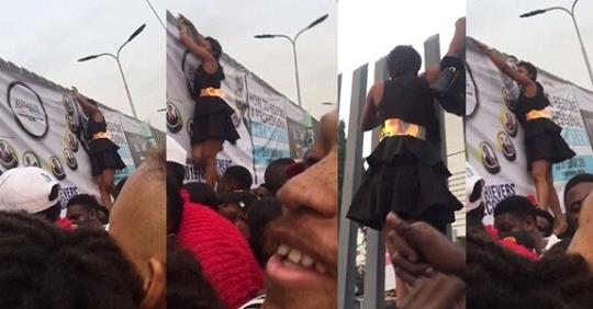 Nigerian Lady Turns Spiderwoman To Beat The Massive Queue At The BBNaija 2019 Audition In Lagos Today.