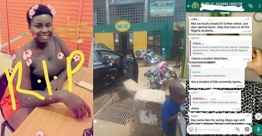 Popular Eatery Shut Down Following Death Of 300L Female Student In Edo State