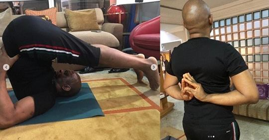 Billionaire Tony Elumelu, Shows Off His Flexibility During Yoga Session (Photos)