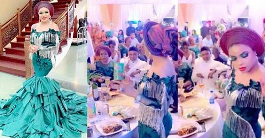 Lady Blasts Bobrisky For Being Overdressed And Sharing Milo At Richard Nnadi's Wedding (Video)
