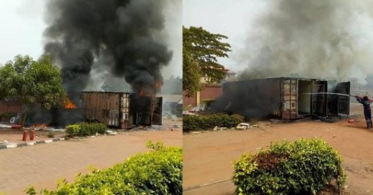 Fire Guts Containers Carrying Card Readers For Saturday's Election In Anambra (Photos)