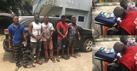 Laptops, Car Recovered As Five Yahoo Boys Are Arrested In Port-Harcourt.