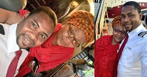 Nigerian Mum Excited After She Recognized Her Son's Voice From The Cockpit Of The Plane She Boarded And Realized He Is The Pilot